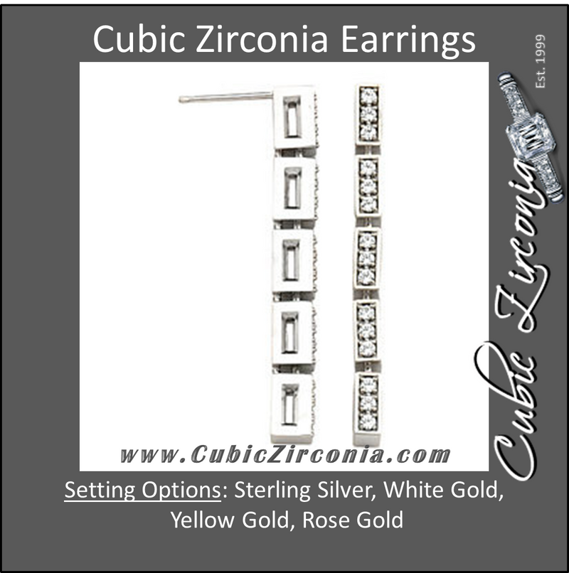 Cubic Zirconia Earrings- 0.50 Carat 5-Link Round Cut Prong Set Earring Set