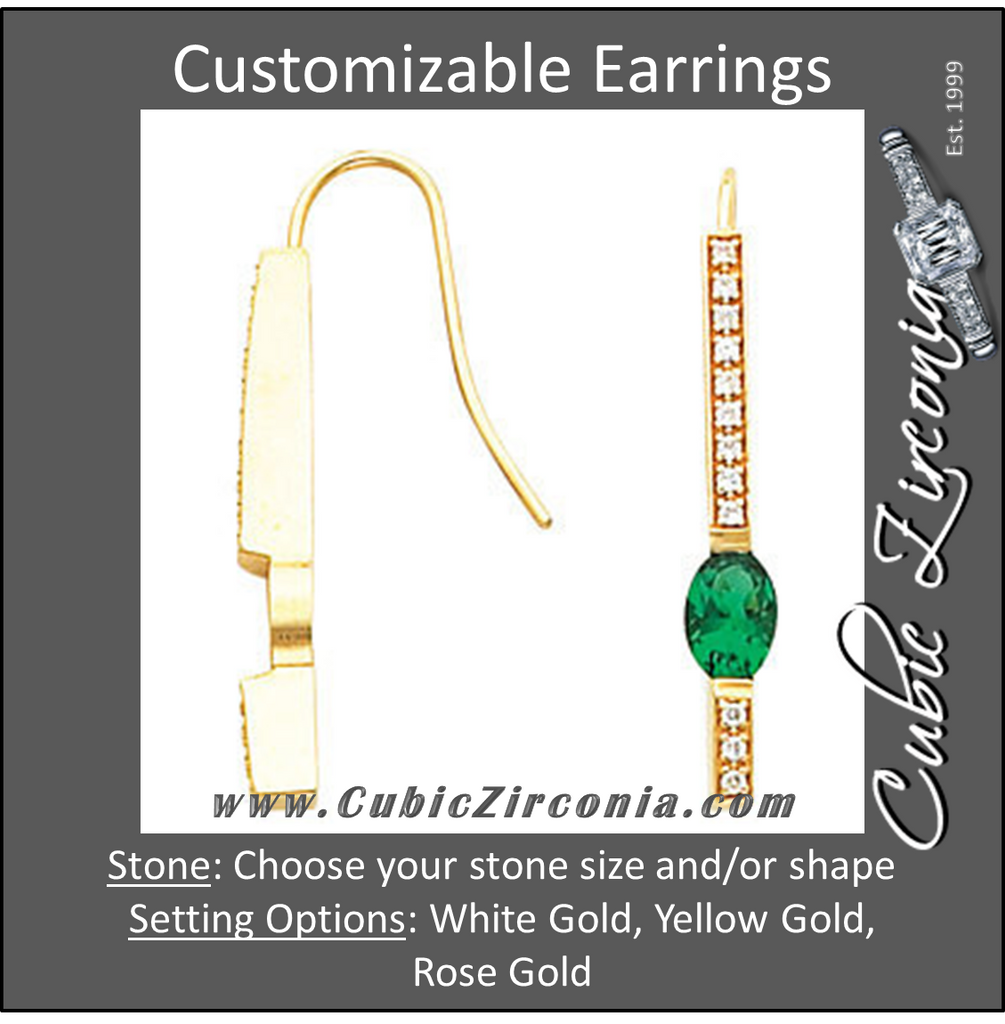 Cubic Zirconia Earrings- Bar for Oval Center