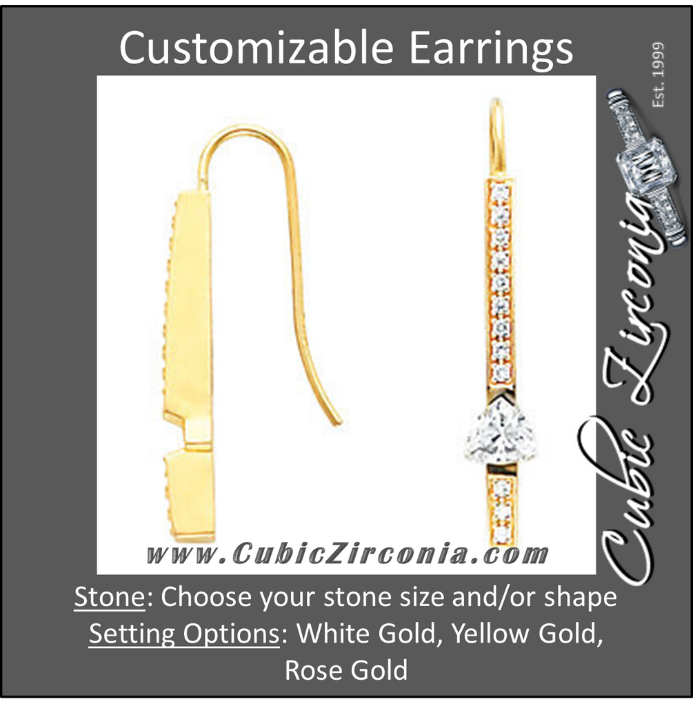 Cubic Zirconia Earrings- Bar for Trillion/Triangle Center
