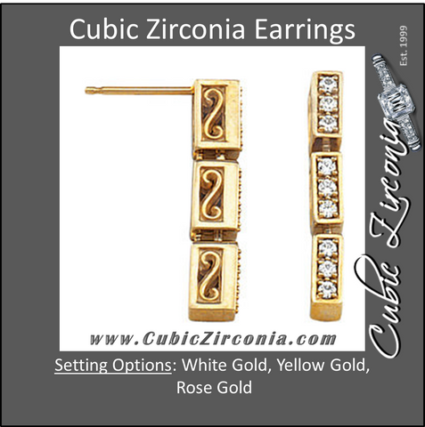 Cubic Zirconia Earrings- 0.30 Carat 3-Link Round Cut Prong Set Scroll Setting® Earring Set