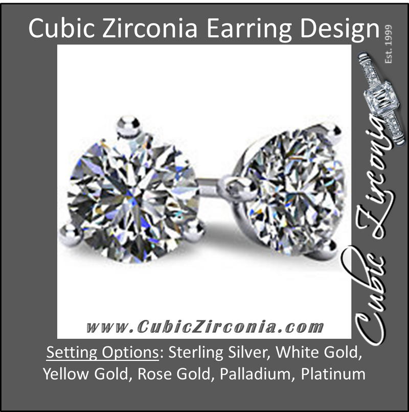 Cubic Zirconia Earrings-  Customizable 3 Prong Round CZ Stud Earring Set