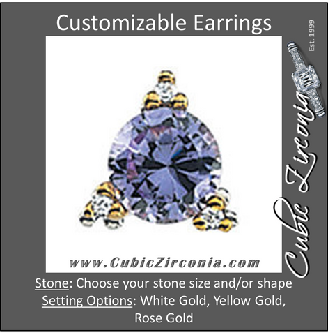 "Cubic Zirconia Earrings- 3-Prong Wire Earring with .027"" Post & Accents"