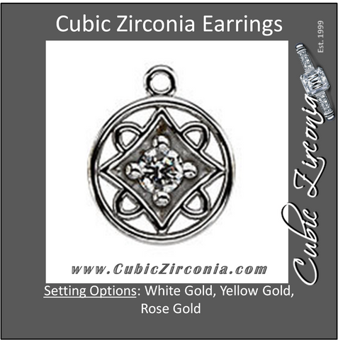 Cubic Zirconia Earrings- Round 4-Prong Art Deco