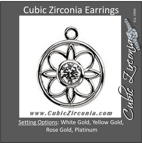 Cubic Zirconia Earrings- Round Bezel-Set Art Deco