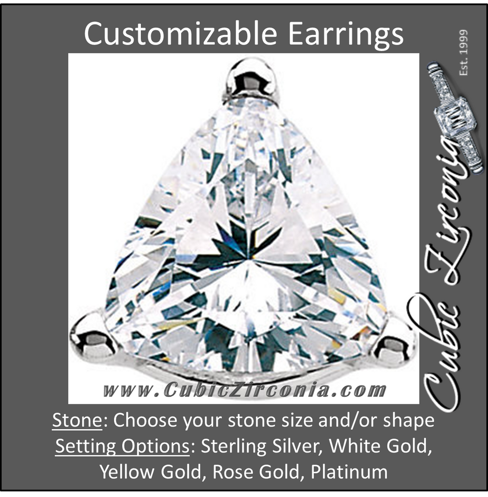 Cubic Zirconia Earrings- Customizable 3 Prong Trillion CZ Stud Earring Set