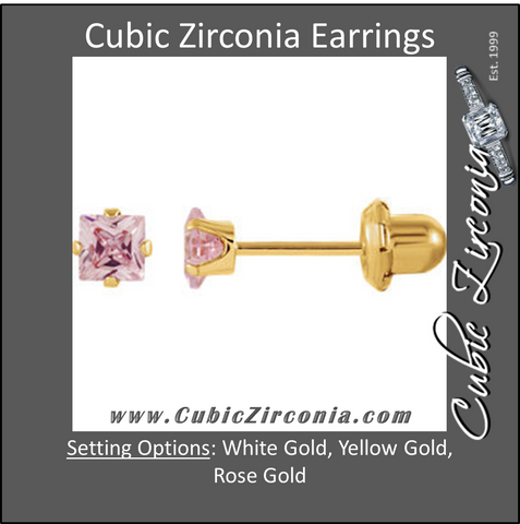 Cubic Zirconia Earrings- Customizable Pink Princess Cut Piercing Earring Set