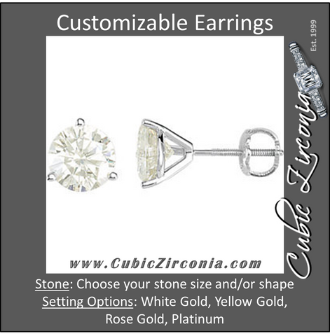 Cubic Zirconia Earrings- Customizable 3-Prong Round Cut Stud Earring Set