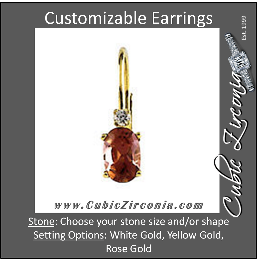 Cubic Zirconia Earrings- Lever Back Earring with Oval Basket & Accent