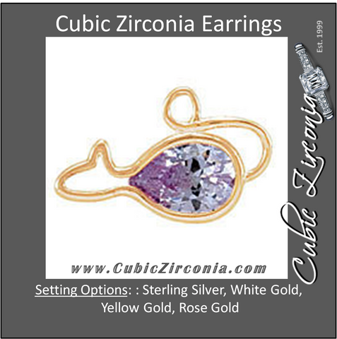 Cubic Zirconia Earrings- Mouse Cinch Bezel Dangle for Pear Center