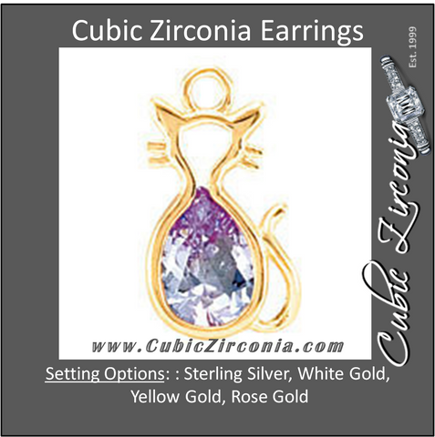 Cubic Zirconia Earrings- Cat Cinch Bezel Dangle for Pear Center Youth Earring Set