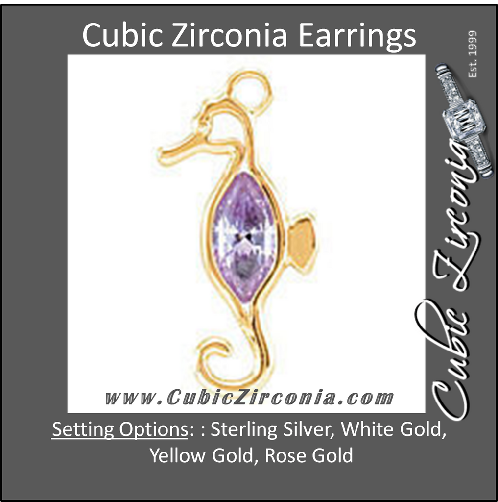 Cubic Zirconia Earrings- Seahorse Cinch Bezel Dangle for Marquise Center
