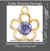 Cubic Zirconia Earrings- Flower Cinch Bezel Dangle for Round Center