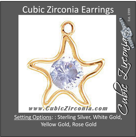 Cubic Zirconia Earrings- Large Starfish Cinch Bezel Dangle for Round Center