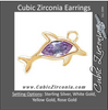 Cubic Zirconia Earrings- Dolphin Cinch Bezel Dangle for Marquise Center