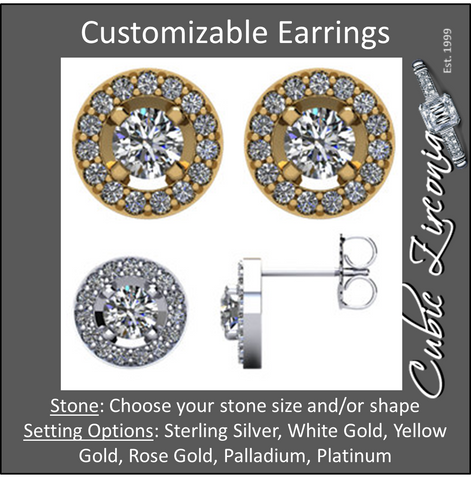 Cubic Zirconia Earrings- Customizable Round Cut CZ Halo-Styled Earring Set