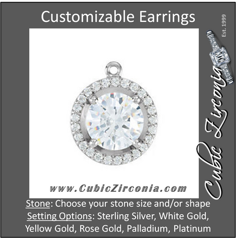 Cubic Zirconia Earrings- Round Halo-Styled Dangle