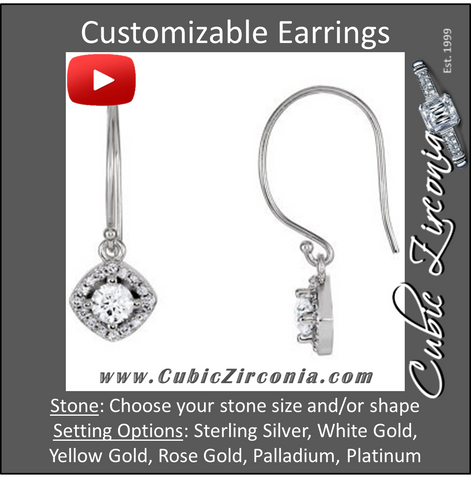 Cubic Zirconia Earrings- Halo-Styled Dangle