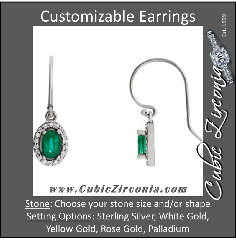 Cubic Zirconia Earrings- Oval Halo-Styled Dangle