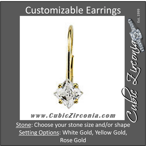 Cubic Zirconia Earrings- Princess/Square 4-Prong Lever Back