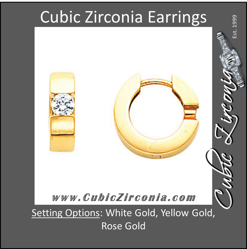 Cubic Zirconia Earrings- Hinged Hoop Solitaire