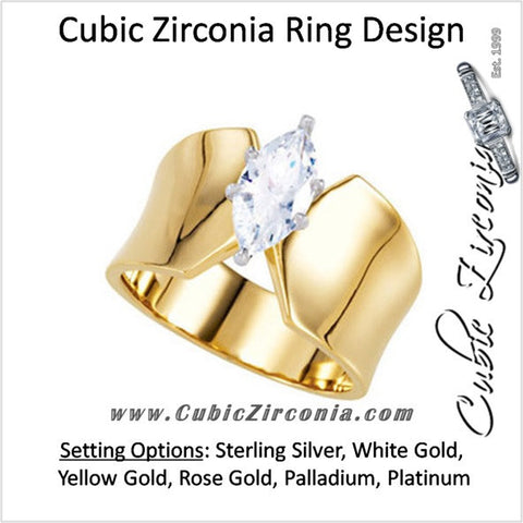 Cubic Zirconia Engagement Ring- The Brandy (Ultra-Wide Band Marquise Solitaire)