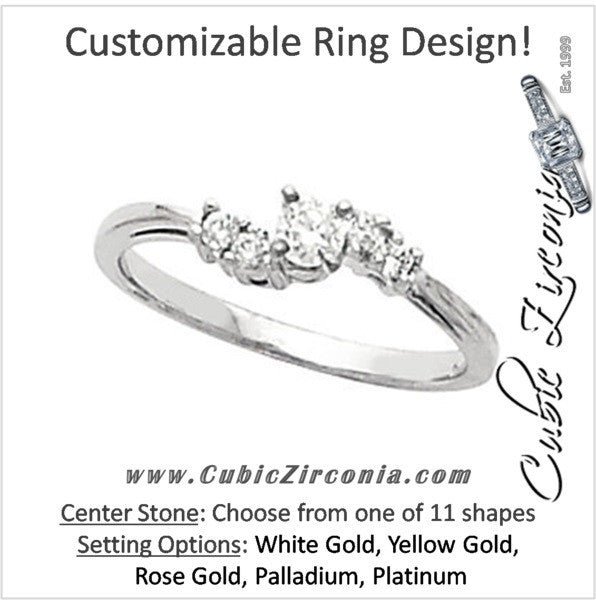 Cubic Zirconia Engagement Ring- The Marcie (Customizable 5-stone Petite Style)