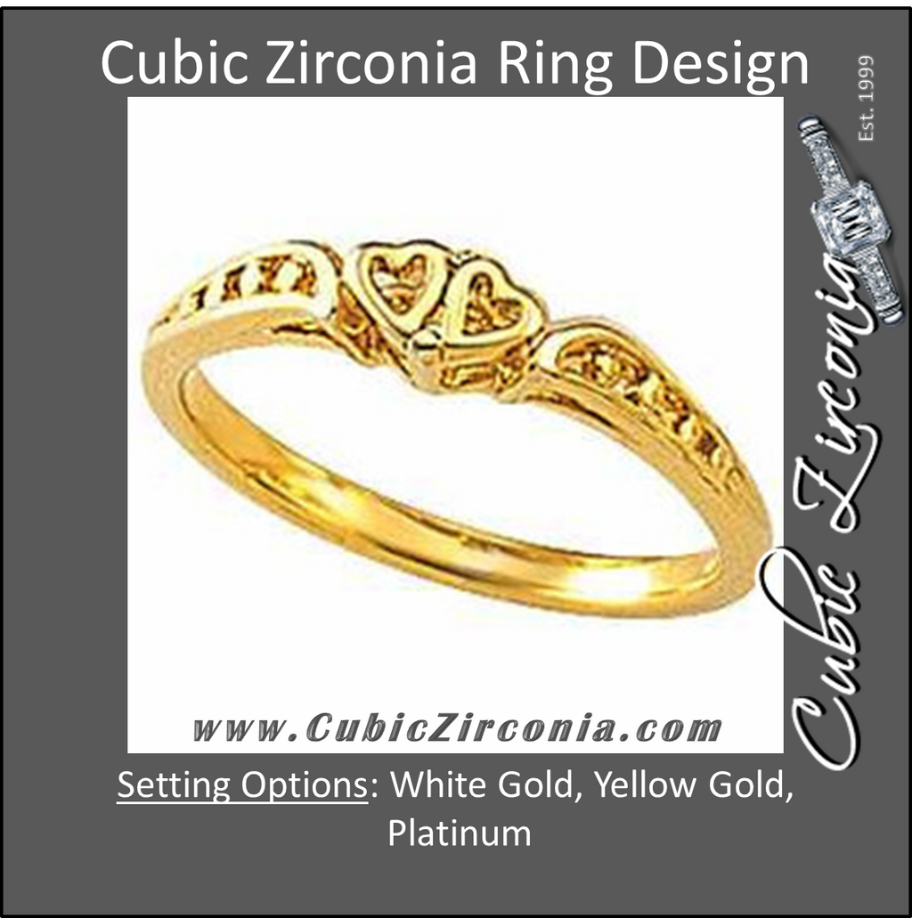 Cubic Zirconia Anniversary Ring Band, Style 45-31 (Heart Motif)