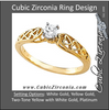 Cubic Zirconia Engagement Ring- The Angelica (0.20 CT Round Stackable Solitaire with Sleek Band and Heart Motif)