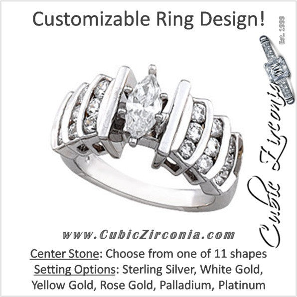 Cubic Zirconia Engagement Ring- The Claire (Customizable Center with Princess Channel)