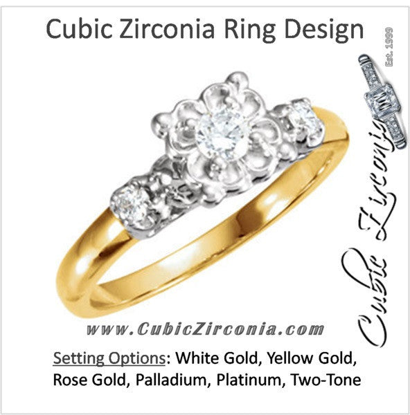 Cubic Zirconia Engagement Ring- The Sabine (0.16 Carat 3-stone Rount-cut Vintage Two-Tone)