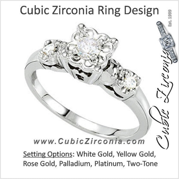 Cubic Zirconia Engagement Ring- The Deedee (0.21 Carat 3-stone Round Vintage Design)