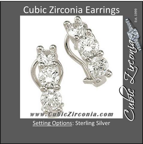 Cubic Zirconia Earrings- 2.25 Carat 3-Stone Round Cut French-Back Earring Set