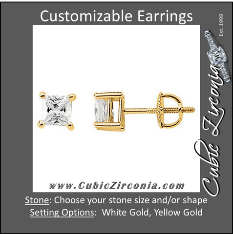 Cubic Zirconia Earrings- Customizable CZ Princess Stud Screw Back Earring Set