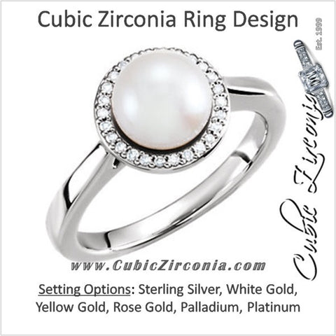 Cubic Zirconia Engagement Ring- The ________ Naming Rights 64-71 (White Freshwater Cultured Pearl & 0.08 CTW CZ Halo-Style)