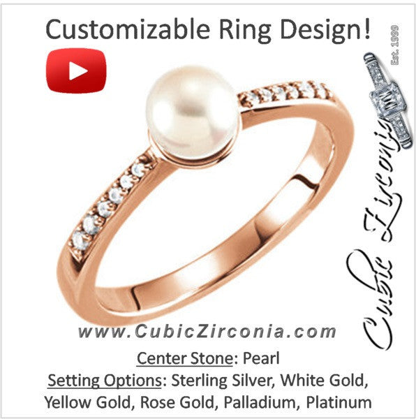 Cubic Zirconia Engagement Ring- The ________ Naming Rights 64-72 (White Freshwater Cultured Pearl & 0.08 CTW Channel-Set CZ)