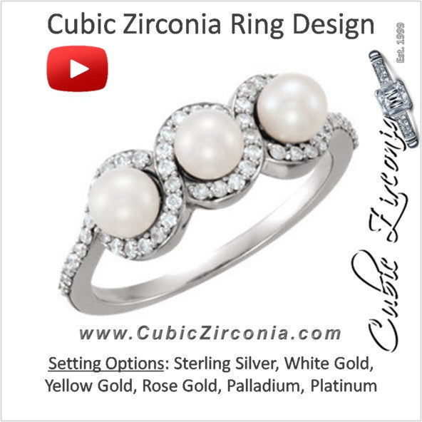Cubic Zirconia Engagement Ring- The ________ Naming Rights 64-77 (3-Stone White Freshwater Cultured Pearl & 0.26 CTW CZ Triple Halo and Pave Band)