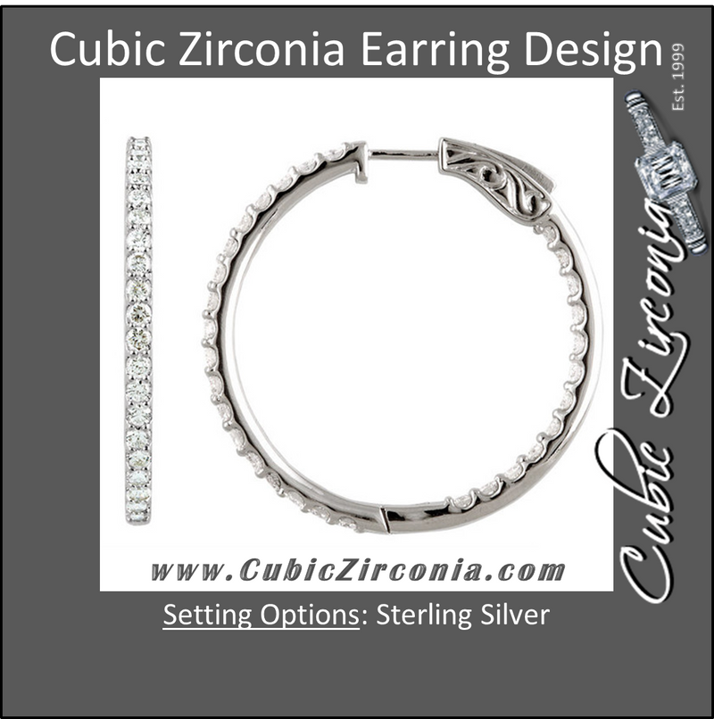 Cubic Zirconia Earrings- Customizable Inside/Outside Sterling Silver Hoop Earring Set