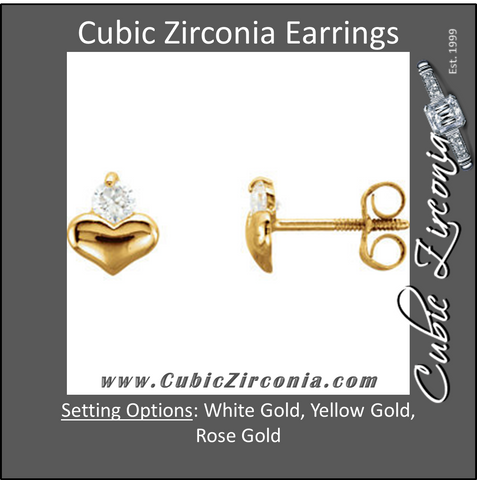 Cubic Zirconia Earrings- Heart & Cubic Zirconia Accented