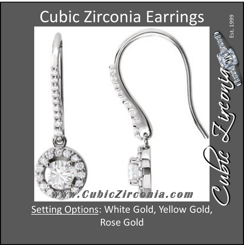 Cubic Zirconia Earrings- Halo-Styled CZ Earring