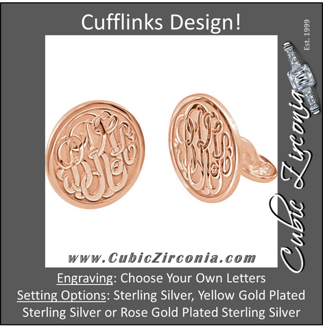 Men's Cufflinks- Personalizable Initials 3-Letter Fancy Cursive Monogram (15x15mm)