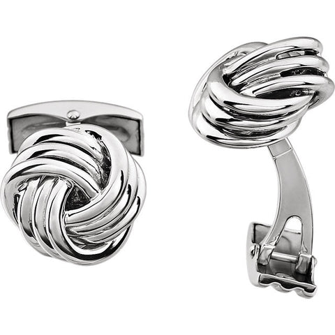 Men's Cufflinks- 14K White or Yellow Gold Thick Knot Design