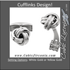 Men's Cufflinks- 14K White or Yellow Gold Tight Knot Design
