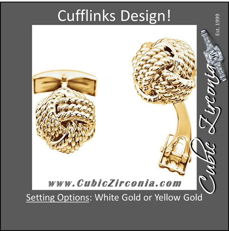 Men's Cufflinks- 14K White or Yellow Gold Knot Design