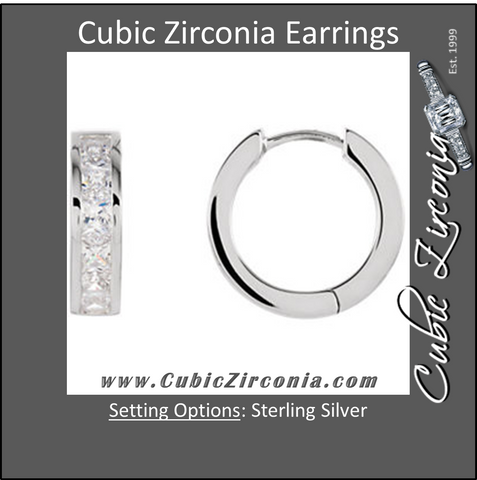 Cubic Zirconia Earrings- 2.0 Carat Hinged Hoop Princess Cut Channel Earring Set