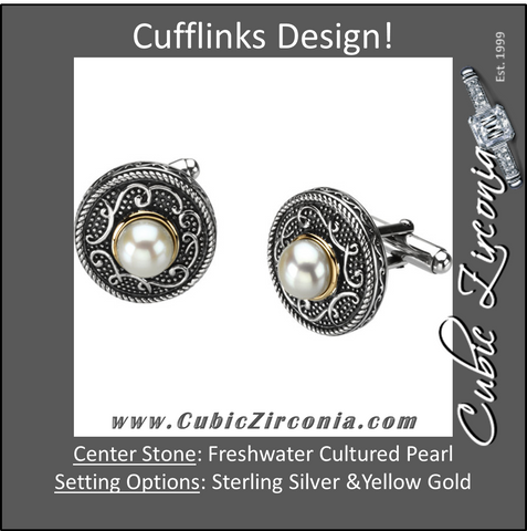 Men's Cufflinks- Sterling Silver & 14kt Yellow Gold Freshwater Cultured Pearl Design