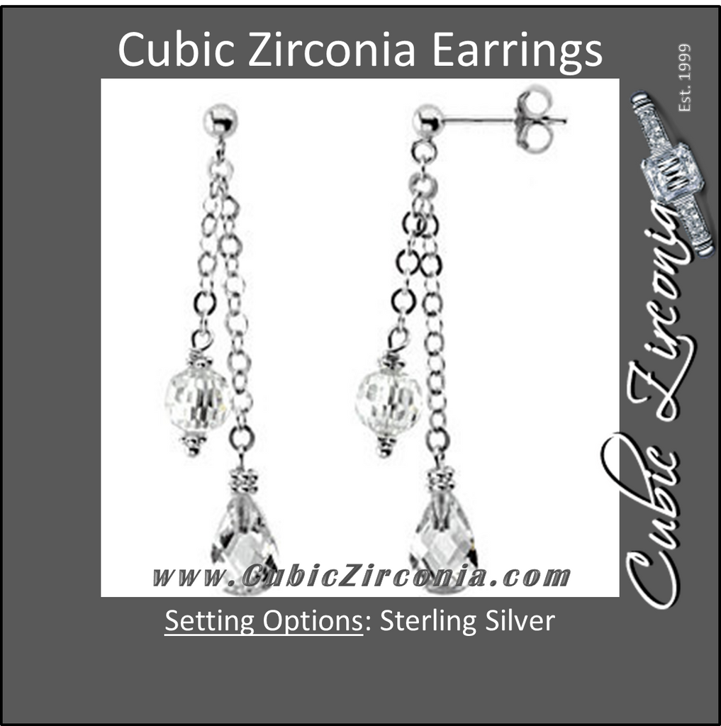 Cubic Zirconia Earrings- Double Chain Sphere Briolette Dangle Earring Set