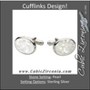 Men's Cufflinks- Sterling Silver with Mother of Pearl