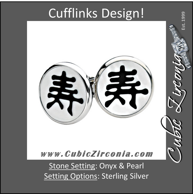Men's Cufflinks- Sterling Silver, Onyx & Mother of Pearl with Chinese Calligraphy Design