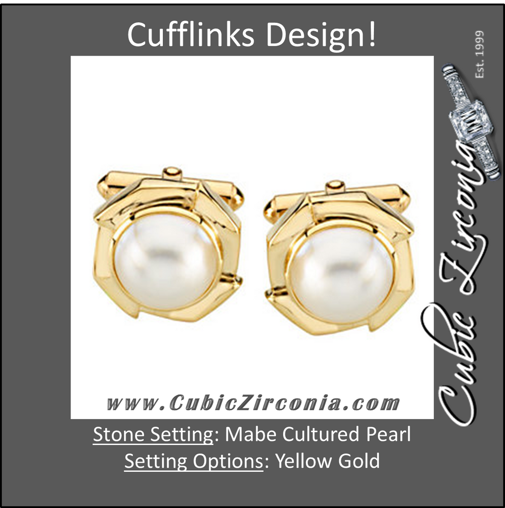 Men's Cufflinks- 14k Yellow Gold with Mabé Cultured Pearl