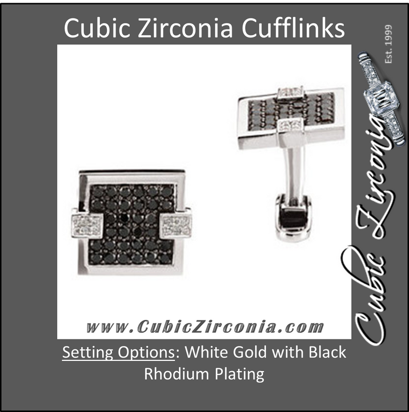 Men's Cufflinks- 14kt White Gold with Black and Clear CZs (1 CTW)